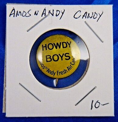 """Amos N Andy Howdy Boys Fresh Air Candy Advertising Pin Pinback Button 13/16"""""""