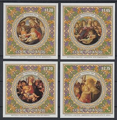 XG-AD973 COOK ISLANDS IND - Paintings, 1985 Christmas, 4 Imperf. Sheets MNH
