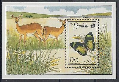 XG-AE092 GAMBIA IND - Butterflies, 1989 Nature, Flora, Wild Animals MNH Sheet