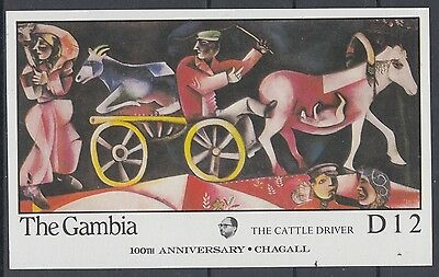 XG-AE057 GAMBIA IND - Chagall, 1987 Paintings, Cattle Driver MNH Sheet