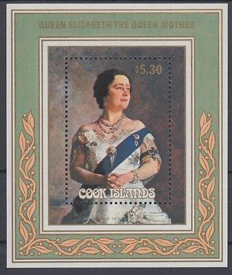 XG-AD968 COOK ISLANDS IND - Paintings, 1985 Queen Mother 85Th Birthday MNH Sheet