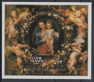 XG-AD982 COOK ISLANDS IND - Paintings, 1987 Hurricane Relief Ovp. MNH Sheet