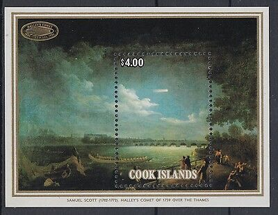 XG-AD975 COOK ISLANDS IND - Halley'S Comet, 1986 Paintings, $4 MNH Sheet