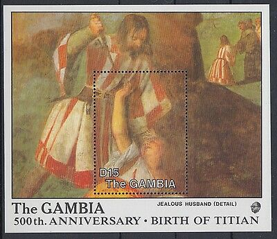 XG-AE074 GAMBIA IND - Paintings, 1988 Titian Birth Anniversary MNH Sheet