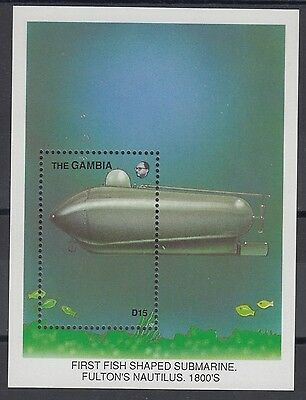 XG-AE079 GAMBIA IND - Transportation, 1988 Innovations, Submarines MNH Sheet