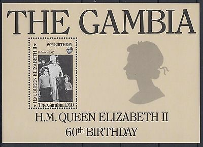 XG-AE049 GAMBIA IND - Qeii, 1986 60Th Birthday, Royalty MNH Sheet