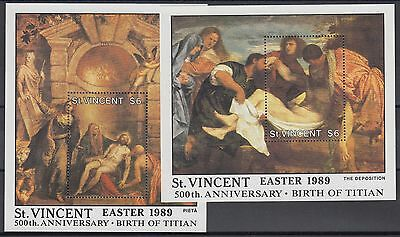 XG-AE457 ST VINCENT - Paintings, 1989 Easter, Titian Anniversary, 2 Sheets MNH