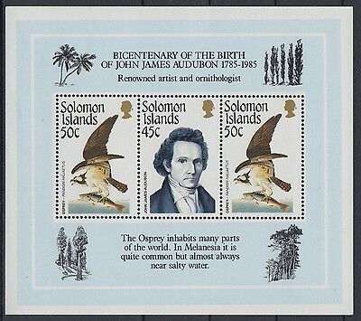 XG-AE844 SOLOMON ISLANDS IND - Birds, 1985 Audubon Bicentenary MNH Sheet