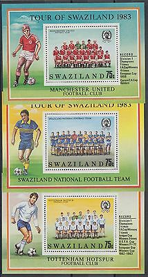 XG-AE859 SWAZILAND IND - Football, 1983 Tour, Manchester... 3 Sheets MNH