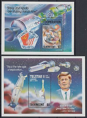 XG-AE458 ST VINCENT - Space, 1989 Cooperation, Telstar, Kennedy, 2 Sheets MNH
