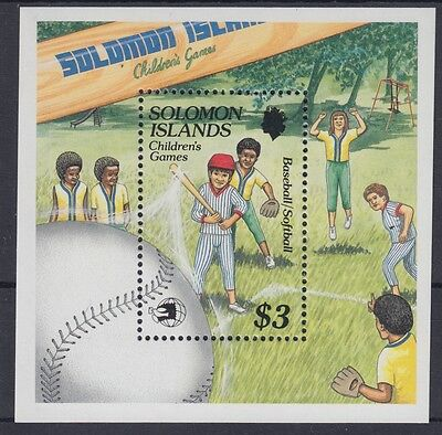 XG-AE854 SOLOMON ISLANDS IND - Baseball, 1989 Children Games MNH Sheet