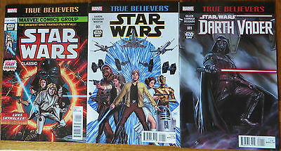 Star Wars True Believers 3x Comic Lot - Classic & Darth Vader #1 NEW