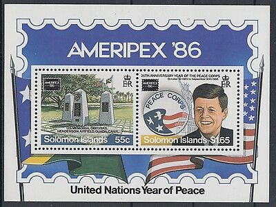 XG-AE846 SOLOMON ISLANDS IND - Ameripex, 1986 Kennedy, Peace MNH Sheet