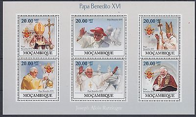 XG-AF178 MOZAMBIQUE IND - Religion, 2009 Pope Benedict Xvi, 6 Values MNH Sheet
