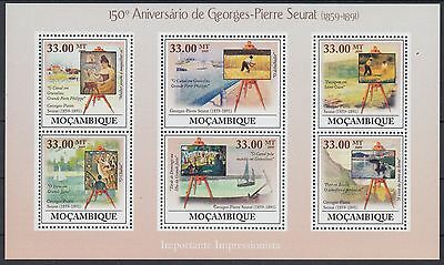 XG-AF168 MOZAMBIQUE IND - Paintings, 2009 Seurat, 6 Values MNH Sheet