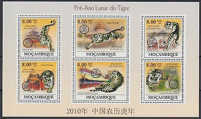 XG-AF132 MOZAMBIQUE IND - New Year, 2009 Of The Tiger, 6 Values MNH Sheet