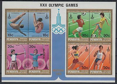 XG-AE303 PENRHYN IND - Olympic Games, 1980 Russia Moscow '80 MNH Sheet
