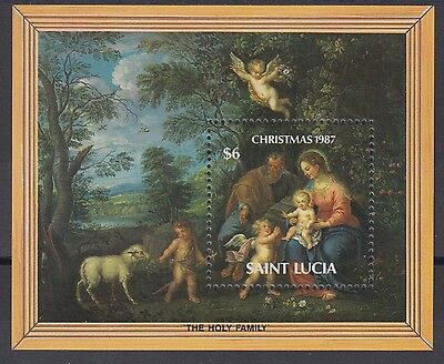 XG-AE573 ST LUCIA IND - Paintings, 1987 Christmas, Holy Family MNH Sheet