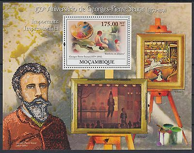XG-AF169 MOZAMBIQUE IND - Paintings, 2009 Seurat, 1 Value MNH Sheet