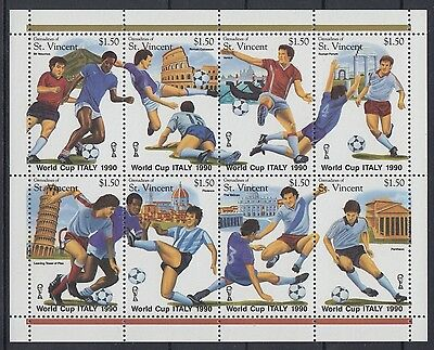 XG-AE502 ST VINCENT & GRENADINES IND - Football, 1989 Italy World Cup MNH Sheet