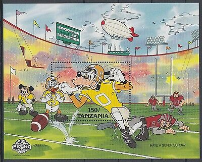XG-AE923 TANZANIA - Disney, 1988 Sports, Rugby MNH Sheet