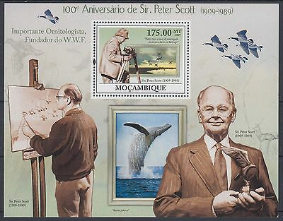XG-AF135 MOZAMBIQUE IND - Birds, 2009 Nature, Sir Peter Scott, 1 Value MNH Sheet