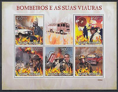 XG-AF038 GUINEA-BISSAU - Fire Fighters, 2009 5 Values MNH Sheet