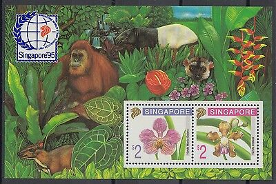 XG-AE718 SINGAPORE IND - Flowers, 1995 Orchids, Wild Animals MNH Sheet