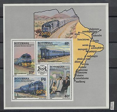 XG-AI521 BOTSWANA - Trains, 1992 Railways, Locomotives MNH Sheet
