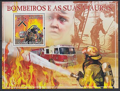 XG-AF039 GUINEA-BISSAU - Fire Fighters, 2009 1 Value MNH Sheet