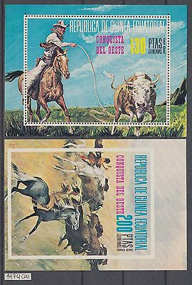 XG-AI555 EQ. GUINEA - Horses, 1974 West Conquest, 2 Perf. & Imperf. Sheets MNH