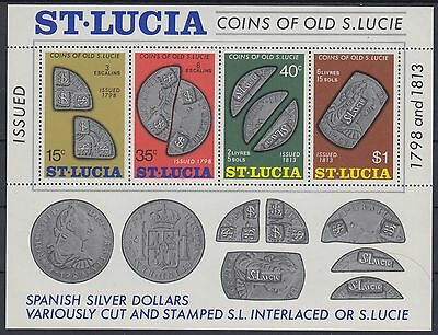XG-AE526 ST LUCIA IND - Coins, 1974 Of Old S.Lucie, Archaeology MNH Sheet