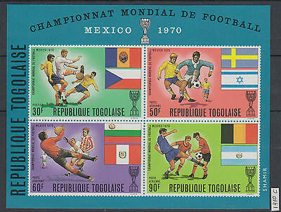 XG-AG663 TOGO IND - Football, 1970 Mexico World Cup, Flags, Imperf. MNH Sheet