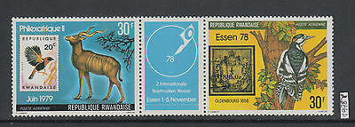 XG-AI578 RWANDA - Philexafrique, 1978 Stamp On Stamp, Birds, Strip MNH Set