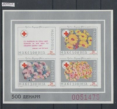 XG-AI666 MACEDONIA - Red Cross, 1993 Flowers, Silver, Imperf. MNH Sheet