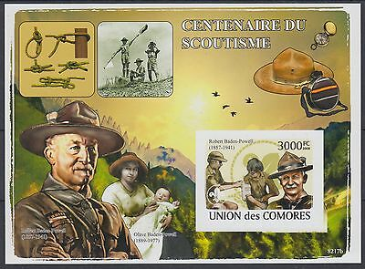 XG-AF275 COMOROS IND - Boy Scouts, 2009 Scouting Centenary Imperf. MNH Sheet