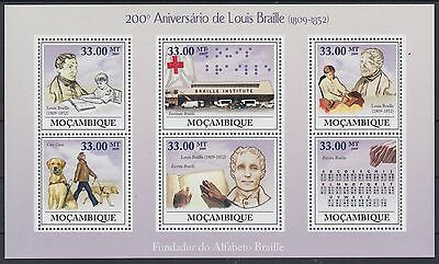 XG-AF164 MOZAMBIQUE IND - Red Cross, 2009 Louis Braille, 6 Values MNH Sheet