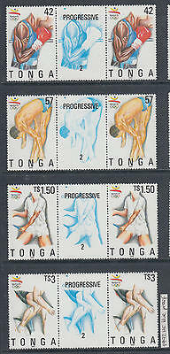 XG-AI415 TONGA IND - Olympic Games, 1992 Barcelona Blue Proof Gutter Pair MNH