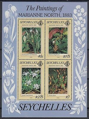 XG-AE598 SEYCHELLES IND - Flowers, 1983 Paintings, Plants, Orchids MNH Sheet