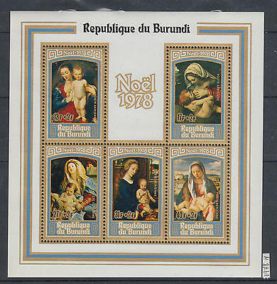 XG-AI535 BURUNDI - Paintings, 1978 Christmas, Madonna And Child MNH Sheet