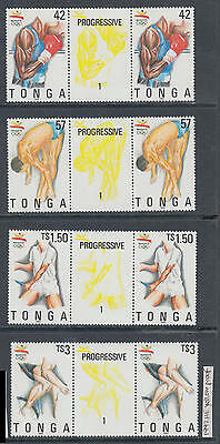 XG-AI416 TONGA IND - Olympic Games, 1992 Barcelona Yellow Proof Gutter Pair MNH