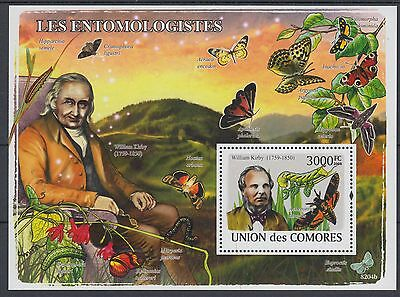 XG-AF255 COMOROS IND - Butterflies, 2009 Insects, Enthomologists MNH Sheet