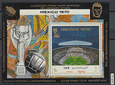 XG-AG666 YEMEN - Football, 1970 Mexico World Cup, Space, Kennedy MNH Sheet