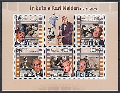 XG-AF042 GUINEA-BISSAU - Cinema, 2009 Karl Malden, Movies, 5 Values MNH Sheet