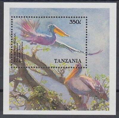 XG-AE934 TANZANIA - Birds, 1989 Pink Backed Pelicans MNH Sheet