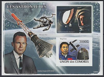 XG-AF257 COMOROS IND - Space, 2009 Astronauts, Shenzou, Cooper Imperf. MNH Sheet