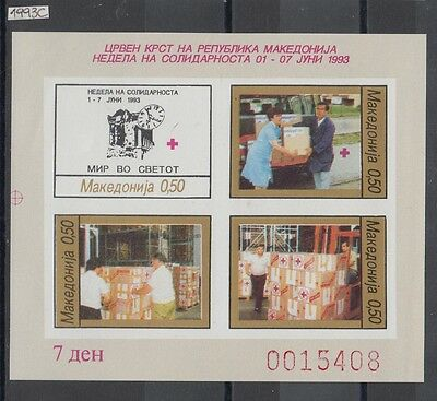 XG-AI665 MACEDONIA - Red Cross, 1993 Solidarity Week, Imperf. MNH Sheet