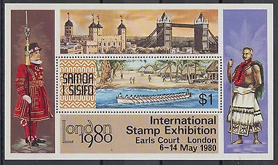 XG-AE797 SAMOA I SISIFO - Ships, 1980 Long Boat, London '80 MNH Sheet
