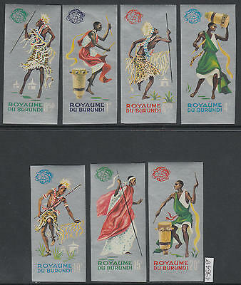 XG-AH031 BURUNDI - Costumes, 1964 Folklore, Silver Background Imperf. MNH Set