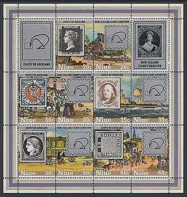 XG-AD585 NIUE IND - Stamp On Stamp, 1980 N. Zealand Zaipex Overprinted MNH Sheet